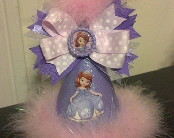 sofia the first birthday party hat with removable bottlecap hairbow  party supplies