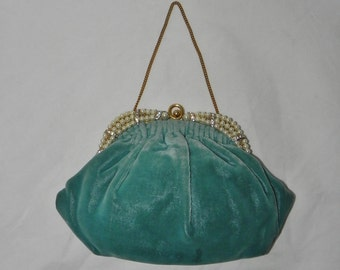 Vintage Magid Green Velour Pearled Satchel With Change Purse & Comb