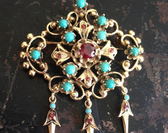Antique Victorian Austro Hungarian Ladies 14K Solid Gold Turquoise Garnet Fringe Brooch Pin Pendant, Something Blue and Something Old