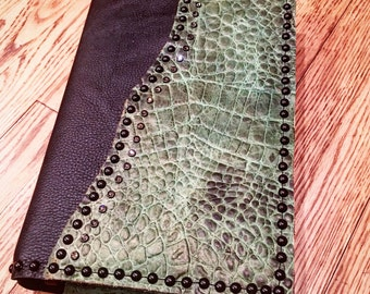Bible Cover - black with green croc