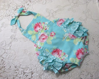 Lola Roses Blue Ruffled Bubble Romper, Infant Toddler Child sizes, Pink Roses, Vintage-Style Romper Ruffled Sunsuit, Photo Prop, Baby Gift