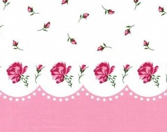 Paris Bebe RASPBERRY ROSES Border Print Vintage 2006 Fabric ~ One Yard