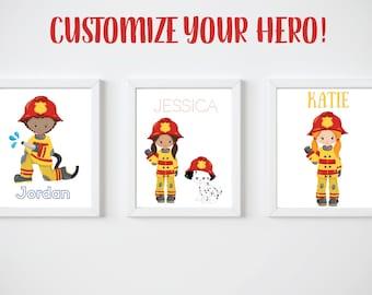 KIDS Room Printable Art, Custom Firefighter Digital Print, CUSTOM Download Digital File 8x10 Digital Print
