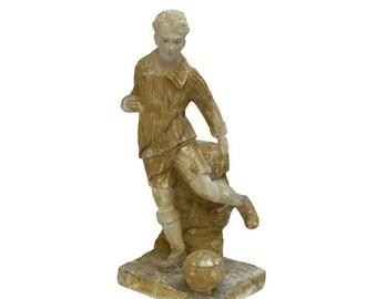 10% OFF Sale Soccer Player Statue. Art Deco Statuette. Vintage Sport Trophy. Antique Chalkware Figurine. Soccer Coach Gift. Man Cave Decor.