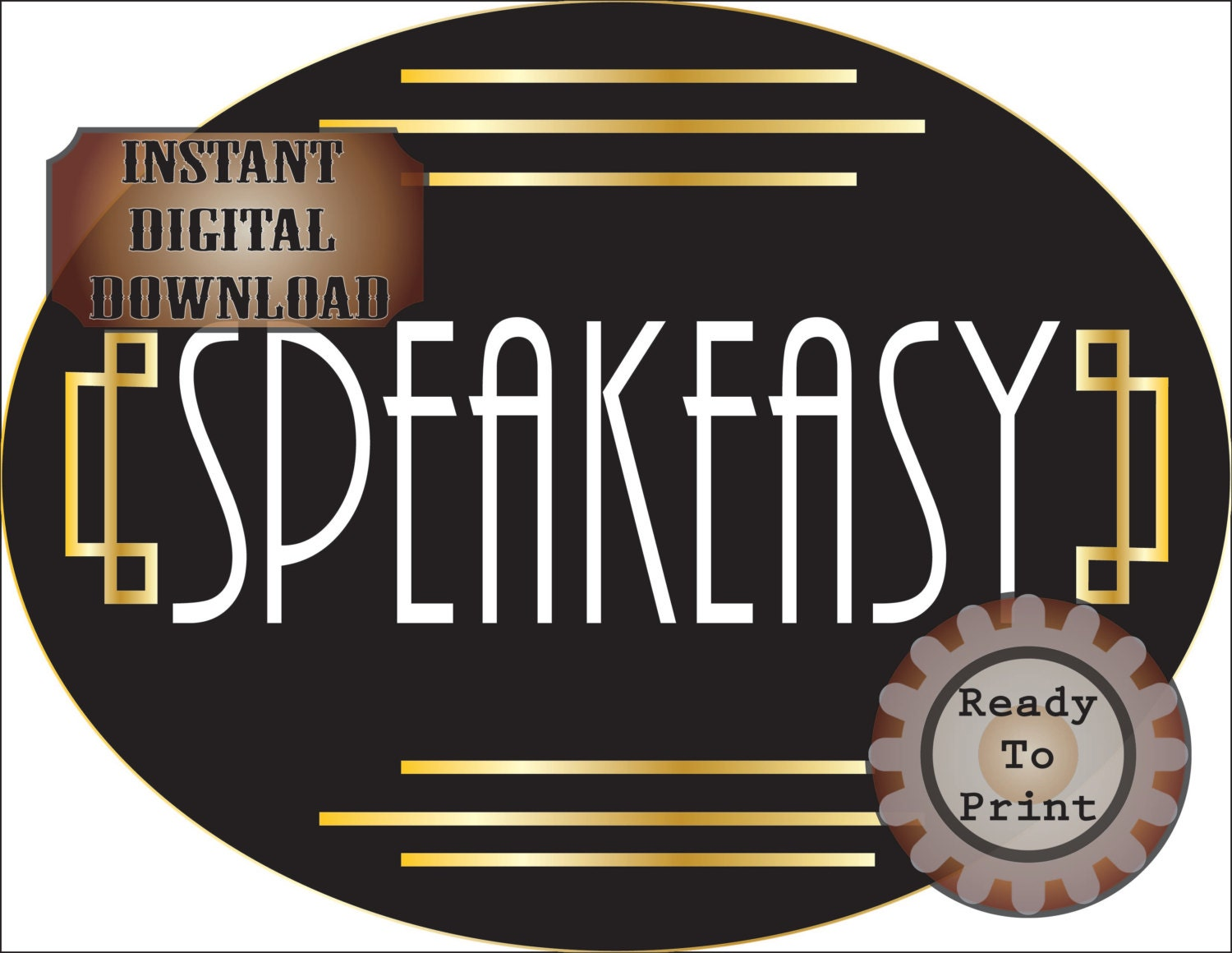 Small Speakeasy Sign Printable Oval Roaring 20s Prohibition