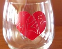 Milwuakee Glass,Wine Glass, Stemless,  Imprinted Heart MKE, in Red, Milwaukee, Wisconsin, 16.75 oz. Stemless Wine/Beverage glass/Barware