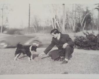 Vintage Dog photo Handsome Man and beautiful Border Collie Dog