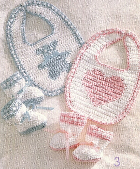 Bernat Crochet Baby Bib Pattern : Crochet BABY BIBS & BOOTIES Pattern Book 4 by KenyonBooks ...