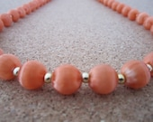 Vintage Silk Bead Necklace - Passionate Peach Color - Retro Jewelry - Use, Upcycyle or Recycle
