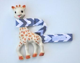 Toy Leash / Toy Strap - Grey Chevron