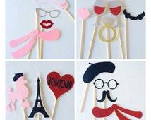 Paris Photo Booth Props : Parisian Bridal Shower Decorations ; Bachelorette Party Glitter Photo Booth Props ; Bachelorette Party Decorations