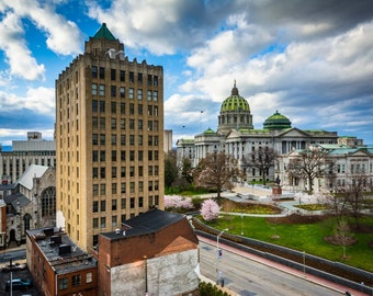 View of buildings and the Pennsylvania State Capitol Complex in Harrisburg, Pennsylvania. | Photo Print, Stretched Canvas, or Metal Print.