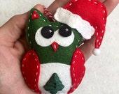 Felt Santa Owl Ornament with Christmas Tree