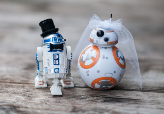 r2d2 and bb8 wedding cake topper r2 d2 and bb 8 wedding cake topper by armywifeartist on etsy 18949