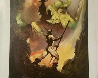 Vintage Frazetta color print titled The Norseman