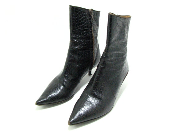 vintage furla italian leather boots black leather stiletto