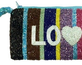 Custom Monogram Beaded Multi Colored Personalized Wrist Bag Wristet Clutch Handbag