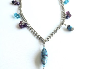 Long purple and turquoise beaded chain necklace, with marble turquoise pendant