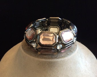 Vintage Wide Chunky Pink & Gray Rhinestone Bracelet