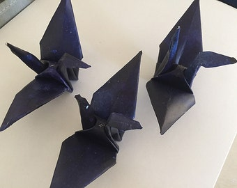 Paper origami cranes - 16 dark blue origami cranes - folded paper bird - watercolor collection - paper bird decoration - thick paper