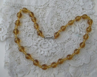Amber glass necklace  1930's