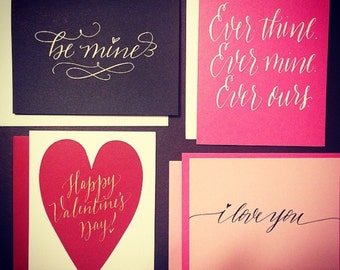 Calligraphy Valentine Cards - 4 pack