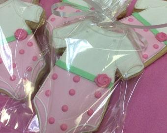 Baby Shower Onesie Cookies , Baby Girl Onesie Cookie Favors for Baby Showers, Girly Baby Shower Cookies, Great Baby Shower Favors