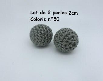 2 beads 20mm colour 50 crochet