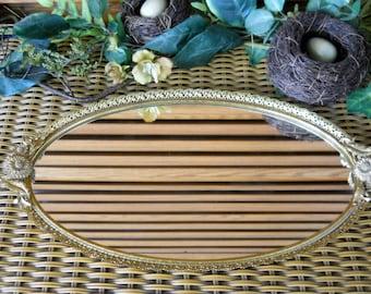 Vintage Rare 1950's Matson Gold Tone Filigree with Dahlia Flowers and leaf Pattern Ormolu Vanity Mirror ~ Dresser/Purfume Mirror Tray