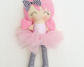 Cloth doll - fabric doll  - handmade doll - modern rag doll - girls room decor - girls toy - dress up doll