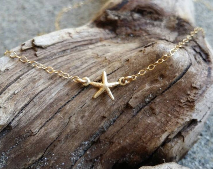 Tiny Gold Starfish Necklace, 14K Gold Necklace, Gold Fill, Starfish Pendant, Starfish Necklace