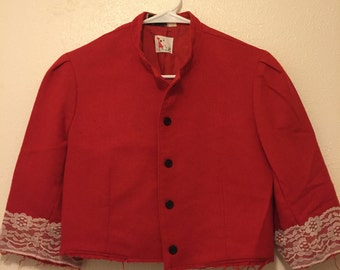Vintage Red Crop Blazer