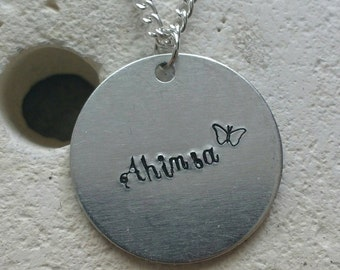 "Ahimsa butterfly necklace - vegan veggie jewelry - animal rights jewellery - handstamped 25mm pendant on 18"" chain"