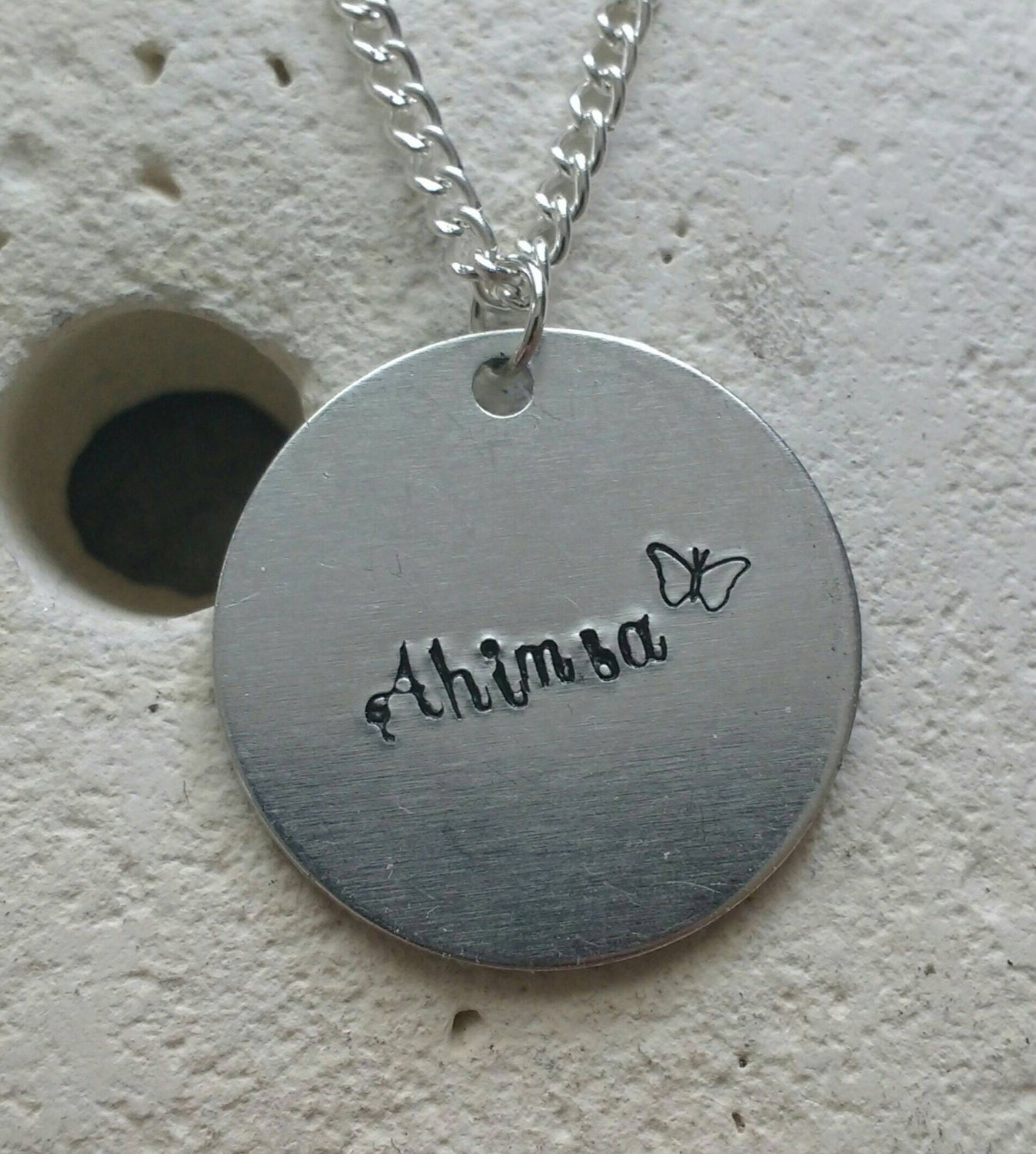 """Ahimsa butterfly necklace - vegan veggie jewelry - animal rights jewellery - handstamped 25mm pendant on 18"""" chain"""