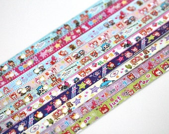 Folding paper for lucky stars - cartoon - 60 paper strips for origami stars
