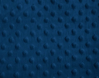 Navy Blue Dimple Dot Minky Fabric, Sold by the Yard 6013