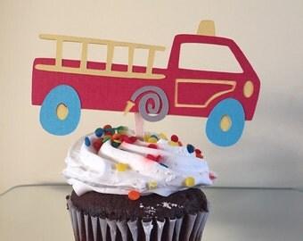Fire Truck Cupcake Topper