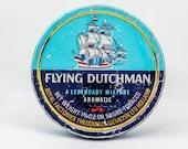 Vintage Dutch Tobacco Round Blue Tin Case Flying Dutchman Storage Metal Box