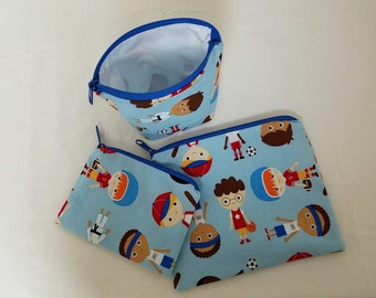 Reusable Sandwich Bag Set, Sports, Super Heros Boys,Snack Bags, Washable, Baseball, Football,Nylon Lining, Zipper Closure, Small Toy Bag.