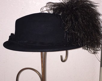 Vintage Felt and Feather Hat