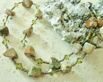 Rhyolite Gemstone Beaded Necklace, Autumn Hued Beads, Green Stone Beads Necklace