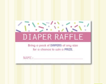 Pink Baby Shower Sprinkle Diaper Raffle Instant Download Printable - Girl
