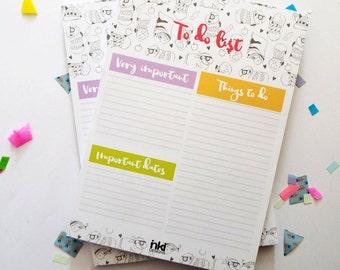 To Do List Notepad - A5 Guinea pig Desk Pad - Planner -Organizer