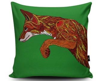 Fox Cushion, Fox Home Decor, Fox Pillow, Fox Cushion Cover, Green Cushion, Fox Gift by Paul Robbins, 45cm/60cm Faux Suede Cushion