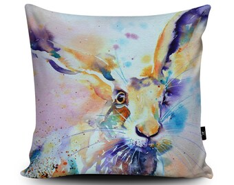 Spring Hare Cushion, Hare Gift, Hare Pillow, Rabbit Cushion, Rabbit Pillow, Animal Cushion, Hare Art Home Decor Vegan, Hare Watercolor