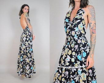 70s botanical halter sundress