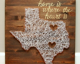 Home is Where the Heart is, Custom Art Piece, Texas, Dallas and Austin Texas, Copper, Brown and Gold.