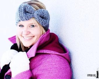 Women's Crochet Big Bow Ear Warmer Crochet Earwarmer Headband Head Wrap - ANY COLOR