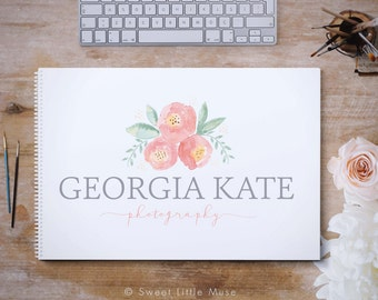 Watercolor Floral logo design - watercolor logo - photography logo - hand painted logo