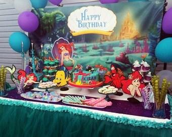 Set Of 4 Little Mermaid Birthday Table Centerpiece / Ariel / Flounder / Sebastian /  Fun Kids Parties / Baby Shower / Birthday Decorations